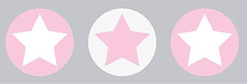 lovely label Bordüre selbstklebend Sterne GRAU/ROSA - Wandbordüre Kinderzimmer/Babyzimmer mit Sternen - Wandtattoo Schlafzimmer Mädchen & Junge – Wanddeko Baby/Kinder