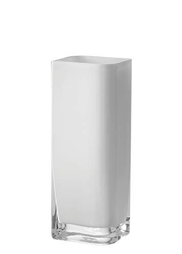 Leonardo Lucca Vase weiß, B/H/T: 11/30/9 cm, rechteckig, handgefertigtes Farbglas, 065956