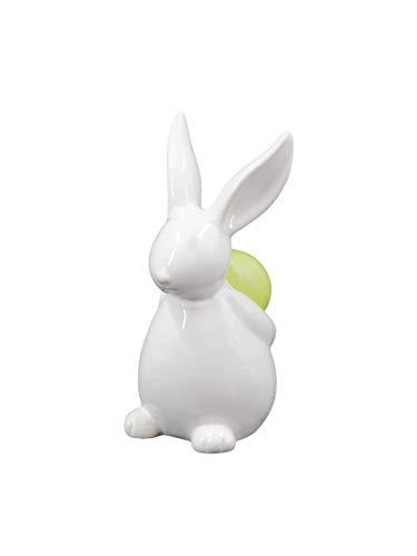 schenken-24 Osterhase mit grünem Ei/weiß/Ostern/Osterdekoration