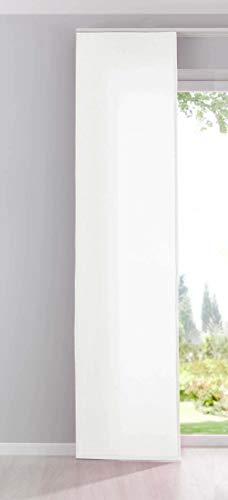 Gardinenbox Flächenvorhang Schiebegardine Cationic Blickdicht Leinen Optik Natura seidenmatt, HxB 245x60 cm, Weiß Landhaus Stil, 204411