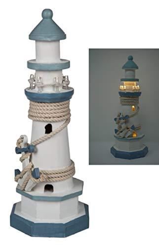 CBK-MS. Leuchtturm blau/Weiss mit Tau + Anker und LED Beleuchtung 8 LEDs Batteriebetrieb Maritime Deko 30 cm Dekoration für Bad, Tisch oder Fenster