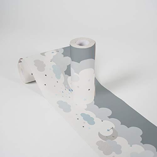 Kinderzimmer Bordüre selbstklebend Dreamy Sky Wandbordüre mit niedlichen Wolken für Babyzimmer und Kinderzimmer Wandtattoo für Mädchen und Jungen in weiß, hellgrau, hellblau