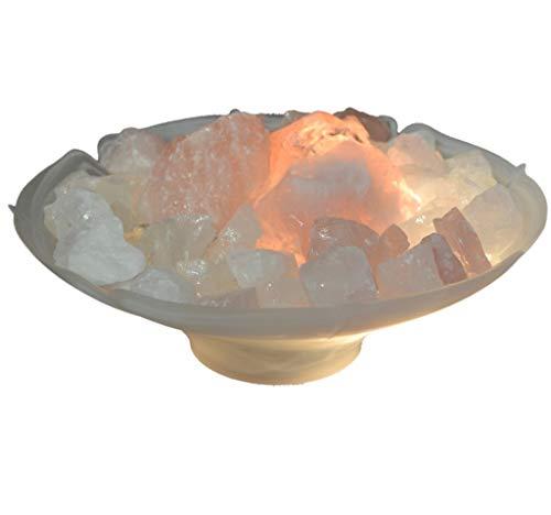 Edelsteinartikel Rosenquarz Brunnen | Rosenquarz Brocken mit Bergkristall Deko Steinen Zimmerbrunnen beleuchtet | Tischbrunnen-Wasserspiel