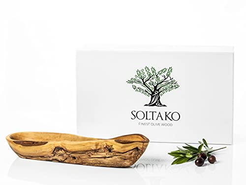 SOLTAKO Olivenholz Baguette Brotschale Schale - Snackschale länglich - Rustikale Holzschale - Dekoschale - Obstschale - Handgemachte Schüssel – Schmuckschale - Mehrzweckschale