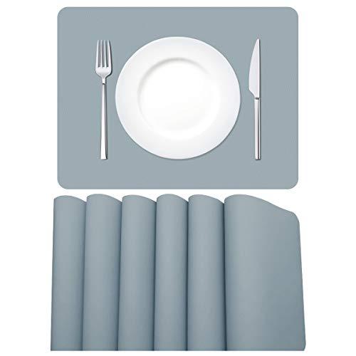 MORROLS Tischsets Abwaschbar, Tischset Leder 6er Set Abwischbar Lederoptik Kunstleder Wasserdicht PVC Platzset, Platzdeckchen für Küche Speisetisch, 42x30cm, Hellgrau