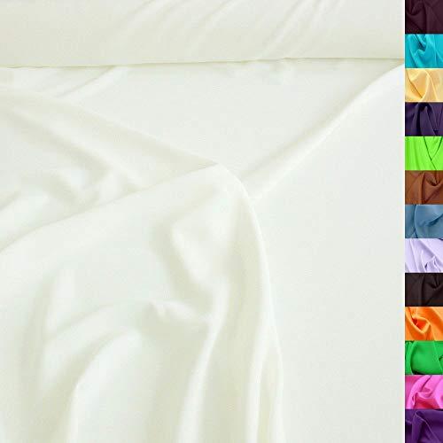 TOLKO Modestoff   Dekostoff universal Stoff zum Nähen Dekorieren   Blickdicht, knitterarm   150cm breit Meterware (Creme Weiß) Bekleidungsstoffe Dekostoffe Vorhangstoffe Nähstoffe Basteln Patchwork Deko