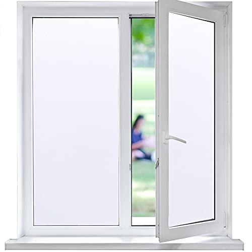 Funfox Fensterfolie Milchglasfolie Fenster Blickdicht Sichtschutzfolie Statische Milchglasfolie Selbstklebend Fenster Anti-UV Folie Milchglas für Badzimmer Büro weiß 44.5 x 200cm