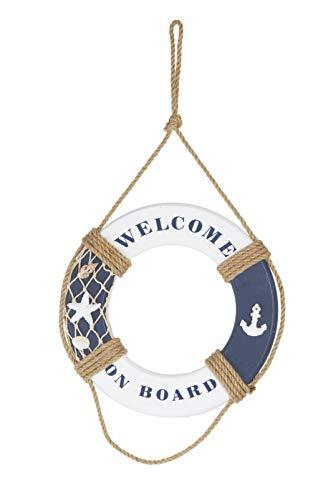 HEITMANN DECO Holz-Rettungsring Welcome on Board - Maritime Dekoration für innen zum Aufhängen - Wanddeko, Badezimmer - Blau-Weiß