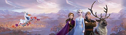 AG Design ELSA mit Freunden in den Bergen, Frozen 2, Disney, dekorative Wandbordüre für Kinderzimmer, 5 m x 14 cm, WBD 8159, Mehrfarbig, 0,1m