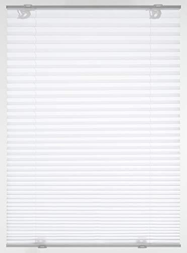 GARDINIA Plissee Solo mit Saugnäpfen, Blickdichtes Faltrollo, Alle Montage-Teile inklusive, 2 Bedienschienen aus Aluminium, Weiß, 40 x 130 cm (BxH)