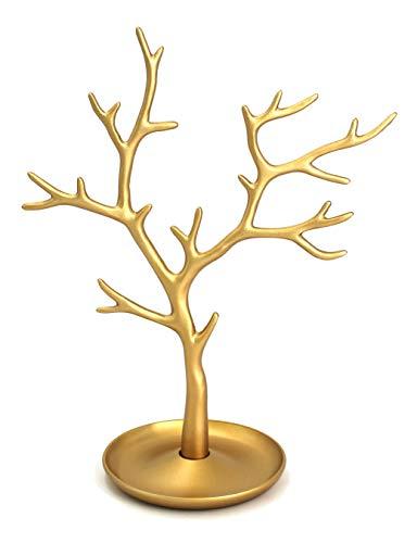 Galeara design Schmuckbaum Gold I Schmuckhalter Weiß I Schmuckständer Schwarz I Schmuckaufbewahrung Rose Gold Wohnung Dekoration Aluminum Deko Metall (Furo - Gold)