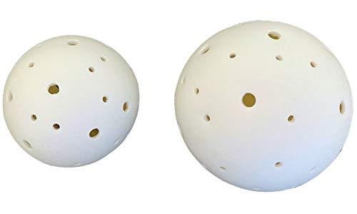 TrendHome Deko LED-Kugel aus Keramik - Kabellose Leuchte Lerer Licht Deko Strahlt mit Warm-Weiße Farbe l LED Lampe Batteriebetrieben mit Timer l LED Keramikkugeln in Größe Ø 8cm Ø10cm 2x Set