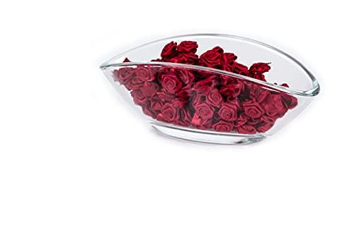 100 Rosen - 15mm - Deko Rosen Röschen - Satinrosen   Bordeaux Rot