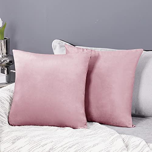 Deconovo 2er Set Samt Kissenbezüge Sofa Kissenbezug Zierkissenbezüge Weich Design Dekor Schlafzimmer Wohnzimmer Couch Büro, 40x40 cm, Sakura Pink