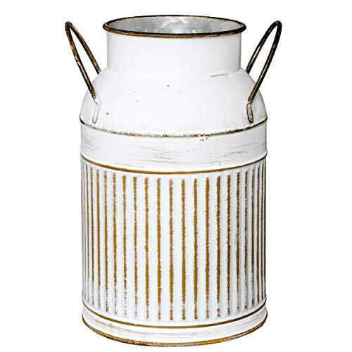 Soyizom Französisch Land Bauernhaus rustikale dekorative Krug Krug Vase & verzinktem Metall Vintage Topf Milchkanne Dose Blumen vase Halter mit Griff als Tisch Herzstück für Küche Hochzeit Dekor, weiß