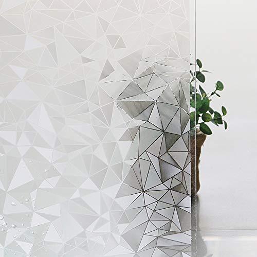 Shackcom Fensterfolie Sichtschutz Selbsthaftend 90x400cm Blickdicht Milchglasfolie Sichtschutzfolie Statisch Haftend Anti-UV Dekorfolie mit Polygon Muster für Küche Wohnzimme Badezimmer-J014