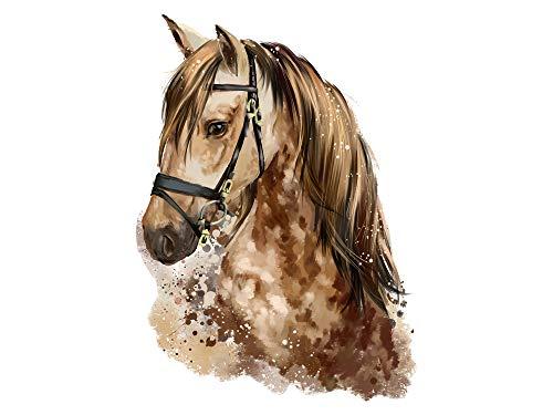 GRAZDesign Wandtattoo Mädchen Zimmer Pferd Pferdekopf braun Braunder - Aquarell Wandsticker Kinderzimmer Deko / 55x40cm (HxB)