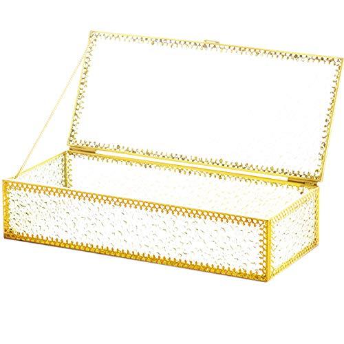 dancepandas Glasterrarium Box Geometrisches Terrarium Gold Groß Schmuckschatulle aus Glas Glas Aufbewahrungsbox Deko für Wohnzimmer, Schminktisch, Schlafzimmer Dekoration Lagerung