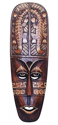 Wanddekoration Maske Samu Kopf 50 cm, Albesia Holz braun, Holzmaske Kunsthandwerk im afrikanischen Stil aus Bali Lombok handgefertigt