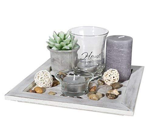 ootb Deko-Teelichtteller, Geschenkset, Glas, Mehrfarbig, 20 x 20 x 8