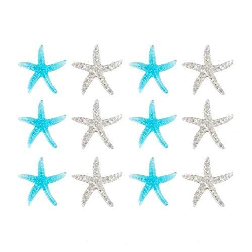 Oblique Unique® 12x Seestern Konfetti als Tisch Deko Seesterne für Motto Party Baby Shower Kindergeburtstag Geburtstag Maritime Dekoration Streudeko Blau Silber