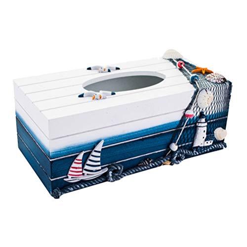 TOPBATHY Holz Tissue Box Kosmetiktücherbox Mediterraner Stil Kleenexbox Maritime Tischdeko Taschentuchbox Kosmetiktuchspender Kosmetiktuch Box Nautische Geschenke für Zuhause Büro