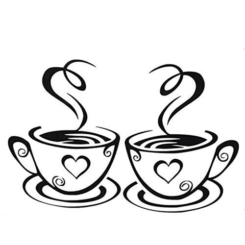 Wandtattoo Doppel Kaffee Teetassen Wandaufkleber Wandtattoos Küche Wanddeko Kaffee Wandsticker Wandaufkleber für Glasfenster Café Esszimmer Und Restaurant