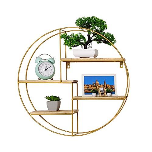 NORIVA Wandregal Rund Gold mit 4 Regalbrettern - Hängeregal aus 100% natürlichem Holz & Metall – Design Schweberegal - Deko Regal für Wohnzimmer 50cm