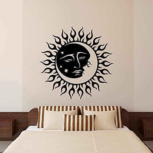 Jsnzff Mond Wandtattoo Aufkleber Sonne Mond Halbmond Doppel Ethno Nachtstern Wandkunst Schlafzimmer Schlafsaal Wohnzimmer Dekoration 60x60cm Anpassbarer Farbtext