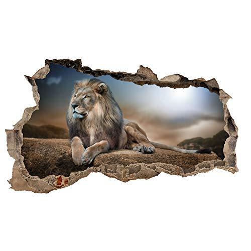 3D Wandtattoo Mauerloch Wandsticker Wandaufkleber Durchbruch Tiere selbstklebend H 60 x B 100 Schlafzimmer Wohnzimmer (WL31 Löwe)