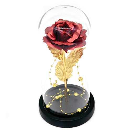 LCCL Schönheit und das Biest Rose Kit, Rose im Glas mit LED Licht, Geschenke für Frauen und Mama, Geburtstagsgeschenk für Freundin, Muttertags Blumen Dekor