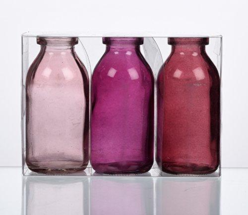 Unbekannt Sandra Rich. Glas VASE Bottle klein. 3 kleine Flaschen ca 10,5 x 5 cm. Fuchsia - ROSA 1165-10-11