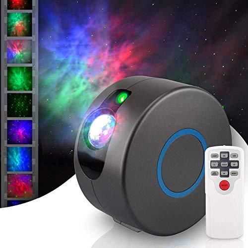 YIKANWEN Sternen Projektor, Farblicht-LED Projektor mit Sternnebel/Galaxie Projektion als atmosphärische Raumdekoration, Heimkino-Beleuchtung oder Schlafzimmer-Stimmungslicht (Grau)