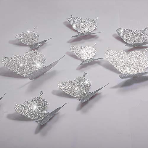 36 Stücke DIY Glitzer Schmetterling Kombination 3D Schmetterling Wandaufkleber Abziehbilder Haus Dekoration (Glitzer Silber)