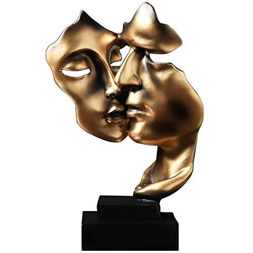 Uziqueif Skulptur Deko Stille Ist Eine Golden Abstrakte Kunst Statue Dekoration Wohnzimmer Büro Bar Café Eingang Statuen Und Skulpturen,Harz,Gold