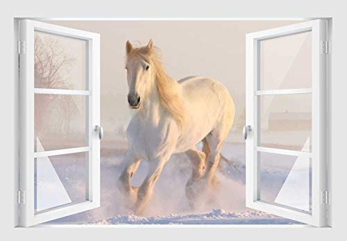 Skins4u Fenster 3D Optik Wandtattoo Wandbild Aufkleber 80x55cm Pferd im Schnee