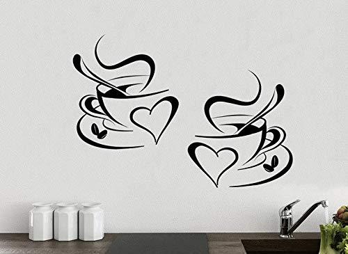Küchen-Aufkleber Wandaufkleber 2 Tassen Kaffee Liebe Küche Wand Tee Aufkleber Vinyl Aufkleber Kunst Restaurant Pub Dekor