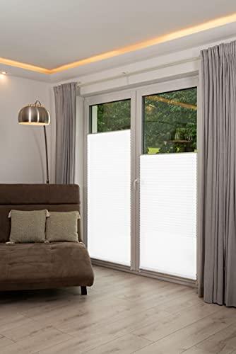 K-home 421614-5 Klemmfix-Plissee Weiß 80 x 130 cm (B x L) Lichtschutz +++ Moderne Crushed Optik +++