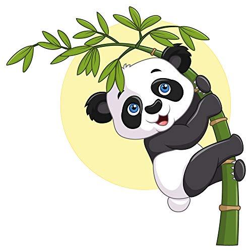 Wandtattoo Kinderzimmer Panda Bär am Bambus Zweig Junge Mädchen