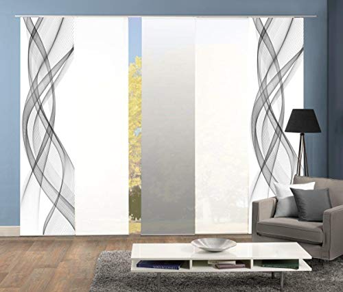 Home Fashion 95575   5er-Set Schiebegardinen FERROL   blickdichter Dekostoff & transparenter Halborganza   5X jeweils 245x60 cm   Farbe: (grau)