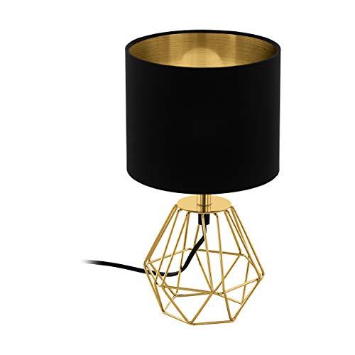EGLO Tischlampe Carlton 2, 1 flammige Vintage Tischleuchte, Nachttischlampe aus Stahl und Stoff, Farbe: Gold, schwarz, Fassung: E14, inkl. Schalter
