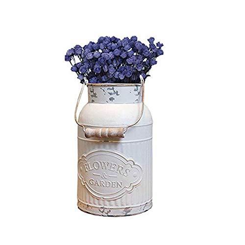 WUHAUROU Weiß Vase Vintage Shabby Chic Vase Deko für Garten Runde Blumenvase Vintage Vase Französischer Landhausstil Vase Eimer Metall Eimer Übertopf Dekovase (A)