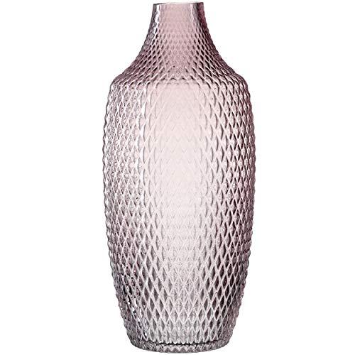 Leonardo Poesia Boden-Vase, handgefertigte Deko-Vase in Rosa Violett, ovale Blumen-Vase aus Glas, Tisch-Dekoration mit Relief-Optik, 40cm hoch, 018677