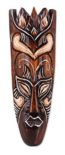 TEMPELWELT Maske Holzmaske Bali 5 Wanddekoration aus Albesia Holz braun, Höhe 30 cm, Kunsthandwerk im afrikanischen Stil aus Bali Lombok handgefertigt