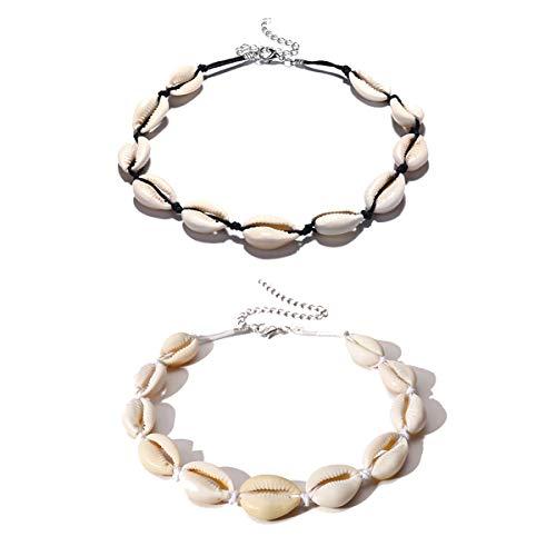 Meetlight Frauen Shell Choker Halsketten Einstellbare handgefertigte Hawaii Schmuck Set für Mädchen Lady Boho Schlüsselbein Schwarz und Weiß