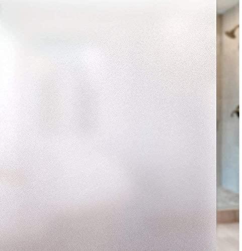 rabbitgoo Fensterfolie Blickdicht Sichtschutzfolie Selbsthaftend Milchglasfolie Anti-UV Klebefolie Statisch Haftende Kleberlos Folie Für Büro Badzimmer 90 x 200 cm Weiß Matt