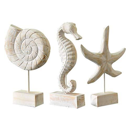 Fittoway 3 Stück Statue Seepferdchen Muschel Seestern Maritim Deko Moderne Maritim Skulptur Dekor Handmade für Wohnzimmer Küche Dekorieren