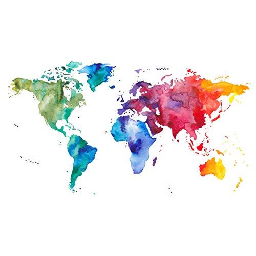 Wandtattoo Landkarte für Wohnzimmer Schlafzimmer oder Kinderzimmer selbstklebende Wandfolie Motiv Weltkarte (Wasserfarbe WW04)