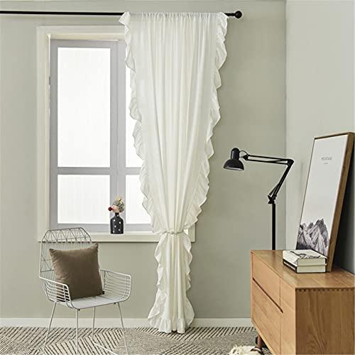 SWECOMZE 1er-Pack Vorhänge Boho Vintage Rüschengardine Shabby Chic Gardine Schal Vorhang Fensterschal für Wohnzimmer Schlafzimmer (Weiß,BxH:150 * 160cm)