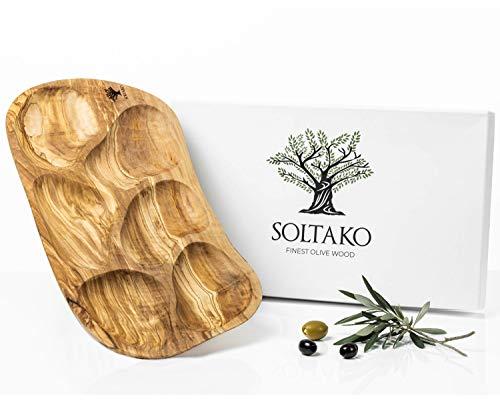 SOLTAKO Snackschale aus Olivenholz Dipschale Tapasteller Schale Holz Olivenholz Holzschale Brotschale diverse Formen & Größen (Große rustikale Snackschale)